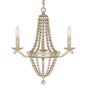 Capital Lighting Fixture Company 4443SQ-000 Adele Silver Quartz Three-Light Chandelier with Wood Bead