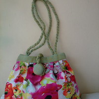 "Bag ""Manon"" Pink flowers, light green, cotton satin interfacing and lining, hand bag and shoulder bag, trendy,elegant and chic casual,"