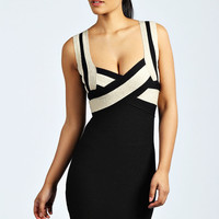Serena Contrast Colour Bandage Bodycon Dress