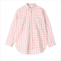 Pink Plaid Chest Pocket Lapel Blouse