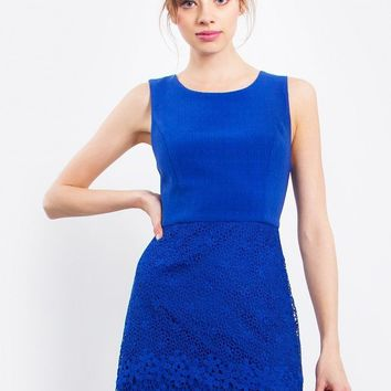 Sapphire Textured Crochet Dress