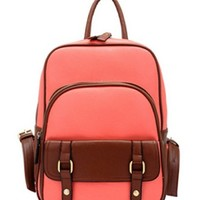 ZLYC Vintage Leather Backpack School Bag (pink)