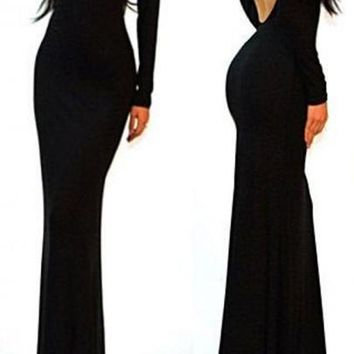 Black Open Back Bodycon Long Sleeve Prom Dress
