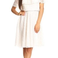 Ruffled Off Shoulder Lace A-Line Wedding Guest Dress Ivory