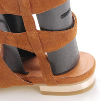 Brown Suede Knee High Lace-up Gladiator Sandals - Choies.com