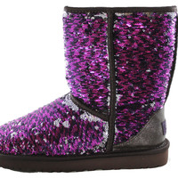 Authentic UGG Australia Classic Short Sparkle Women's Shinny Silver/Purple Shearling Fur Boots 1002978
