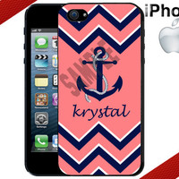 iPhone Case - Chevron Anchor iPhone - Coral and Navy Blue - Personalized iPhone 4 Case or iPhone 5 Case - Personalized Plastic iPhone Case