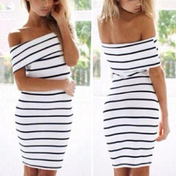 Women's Stripes Short Sleeve Mini Casual Off the Shoulder Bodycon Pencil Long Maxi Dress