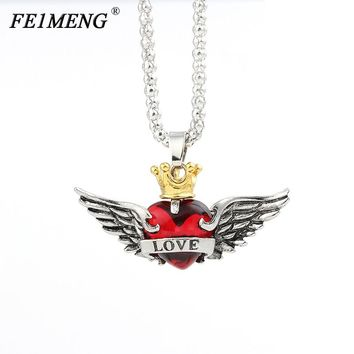 Crown Love Heart Insert Wings Necklace Cute Romantic Red Black Crystal Gold Crown Pendant Necklaces For Women Fashion Jewelry