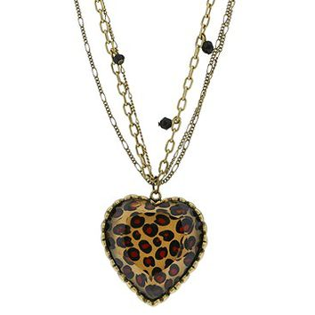Betsey Johnson Puff Leopard Heart Necklace
