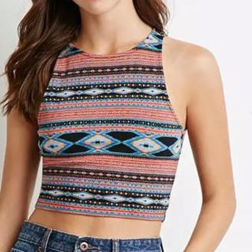 Geometric Print Sleeveless Crop Tank Shirt