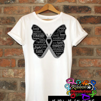 Inspiring Gray Butterfly Awareness Ribbon Shirts for Brain Cancer, Brain Tumor, Diabetes, Parkinsons Disease and More