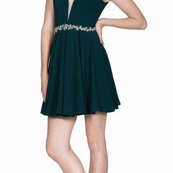 Green Short Cocktail Dress Embellished Waist Sheer Inset V-Neck