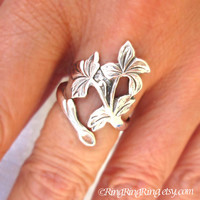 Spring Leaf Branch Ring, Adjustable Long Stem, Sterling Silver Floral Leaf Ring Jewelry, Silver Flower Ring