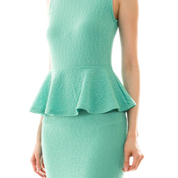Teal Open Back Peplum Dress