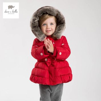 DB4636 DAVEBELLA girls  down jacket children padded jacket kids boutique outerwear Christmas
