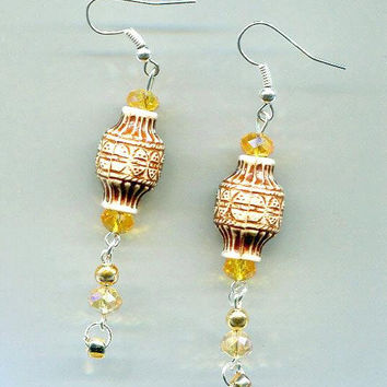 brown and orange big bead drop earrings long dangles glass crystal beads handmade bead jewelry