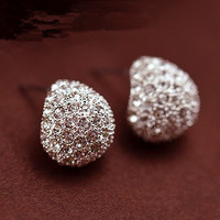 Jewelry Fashion Vintage Full Crystal Crescent Stud Earrings Beatles For Woman