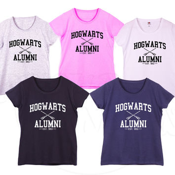 """Hogwarts Alumni"" inspired from Harry Potter Fashion Geek Humour Gift Ladies Tshirt"