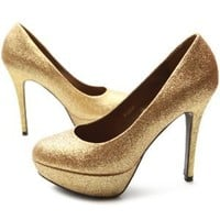 Ollio Women's Shoe Platform Glitter Stiletto High Heel Multi Color Pump (7 B(M) US, Gold)
