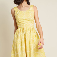 Sleeveless Dress with Scoop Neck in Mustard Medallions