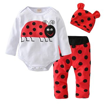 2018 Autumn style Newborn Baby Boy Girl Clothes Cotton Long Sleeve Cartoon Ladybug Printing Romper+Pants+Hat Infant Clothing Set
