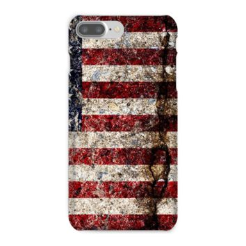 Rustic Cracked Concrete American Flag Phone Case