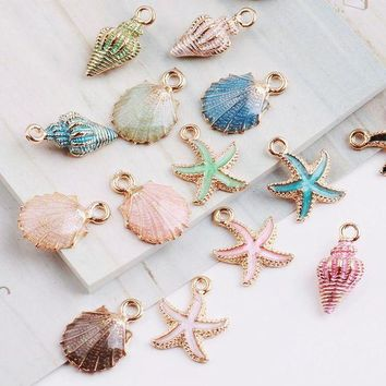 LMFIJ6 MRHUANG 10pcs Coloful Nautical Ocean starfish Shell Conch Sea Enamel Charms DIY Bracelet Necklace Jewelry Accessory DIY Craft