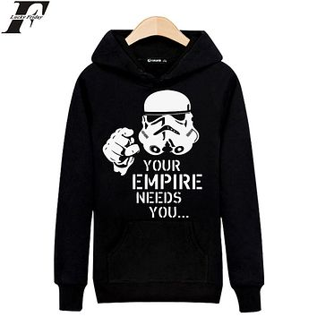LUCKYFRIDAYF Your Empire Needs you in Star Wars Mens Long Sleeve Hoodies Mens Hip Hop Hoodies and Sweatshirts Gray/Black 3xl
