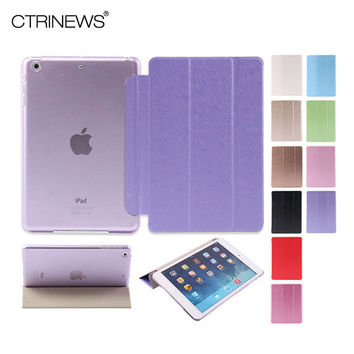 CTRINEWS Silk Leather Cover Case For Apple iPad mini 1 2 3 Flip Stand Cover for iPad mini 2 Case Clear Soft TPU Back Cover