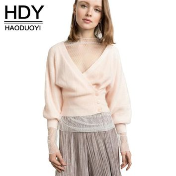Fashion Sweater Women Casual Sleeve Single Breasted Cardigans Solid Pink Thin Net Deep V-neck Sweaters
