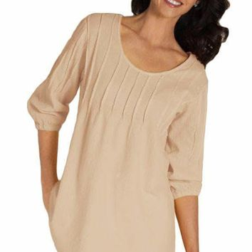 Apricot Pintuck Quarter Sleeved Tunic Top