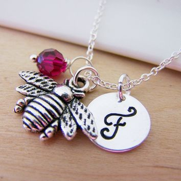 Bumble Bee Insect Charm Swarovski Birthstone Initial Personalized Sterling Silver Necklace / Gift for Her