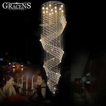 Long Size Crystal Chandelier Light Fixture Lustre Crystal Spiral Style For Lobby Staircase Villa Stairs Hotel Hall