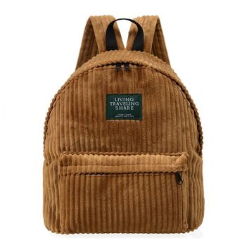 2017 College Style Corduroy Shoulder Bag 100% Cotton Schoolbag Classic Retro Travel Student Backpack 5 Colors