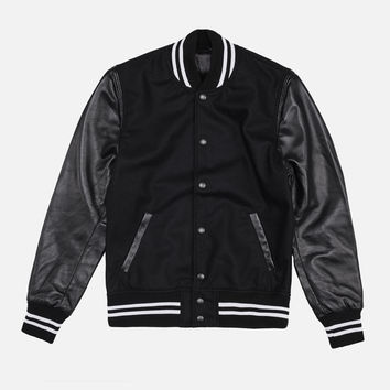 Wool Stadium Jacket / Black