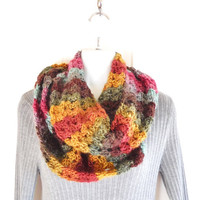 Crochet Lace Women's Scarf - Colorful Winter Neck Warmer - Fashion Scarf - Striped Crochet Lace Cowl - Mother's Day Gift - Gift for Teens
