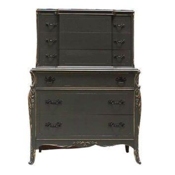 Pre-owned Antique Gray Highboy Dresser