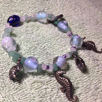 Womens Handmade Glass Beaded Seahorse/Sea Turtle Charm Ankle Bracelet ft Rose quartz and Aventurine chips + seed beads