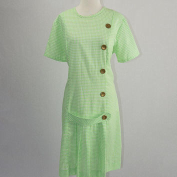 Vintage 1960s Mod Green Gingham Scooter Dress XL School Girl