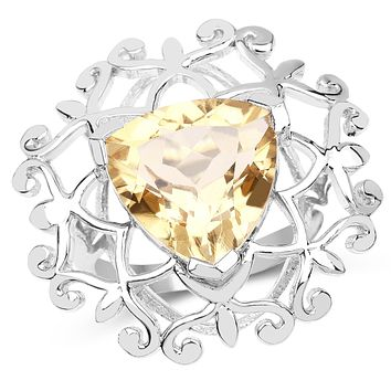 A Special Edition 5.7CT Trillion Cut Natural Yellow Citrine Ring