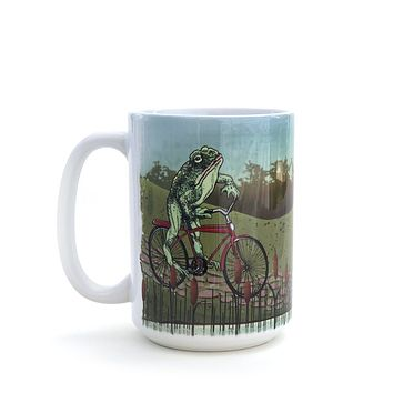 Frog On Vintage Bicycle Large 15 Oz. Coffee Mug