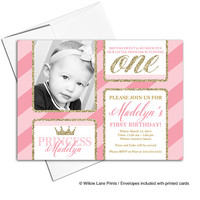 printable 1st birthday invitations | little girls first birthday invitation pink and gold | princess birthday invitations - WLP00306