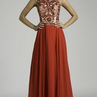 Long Red High Neck Gown by Lara Designs