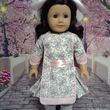"Historical American girl doll clothes ""Sweet and Innocent"" Early 1900s pink & blue apron frock (18 inch) pattern by Eden Ava Couture"