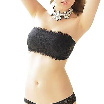 Women Wireless Lace Bralette Bandage Padded Strapless Adjustable Back Thin Breathable Bra Crop Top Brassiere Push Up Bras