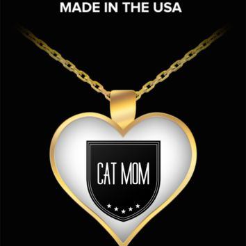 Gift For Cat Person - Cat Mom Necklace - Proud Cat Mom - Heart Shaped Gold Plated Cat Mom Jewelry Pendant & Chain Fits All - World's Best Cat Mom - Funny Gifts For Cat Lover Person Mom Dad Mother's Father's Day Women Men Christmas Valentine's Day Heart
