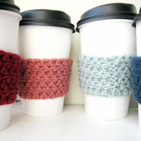 Crochet Cup Cozy Set Pinks and Blues Set of Four Cozys