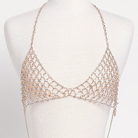 Gold Rhinestone Body Chain Bralette