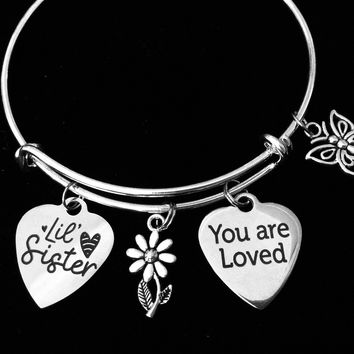 Lil Sister You are Loved Little Sister Jewelry Expandable Silver Charm Bracelet Adjustable Bangle One Size Fits All Gift Daisy Butterfly